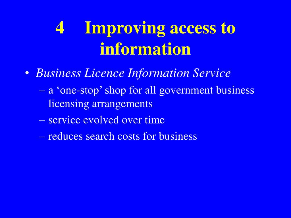 4Improving access to information