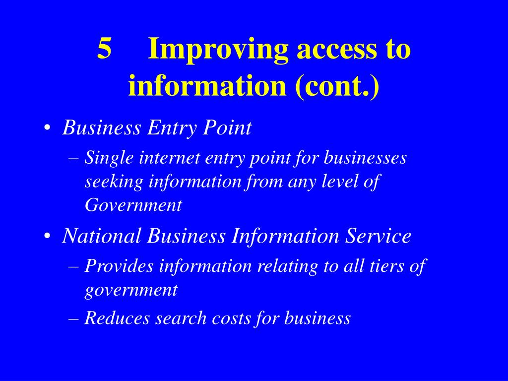 5Improving access to information (cont.)