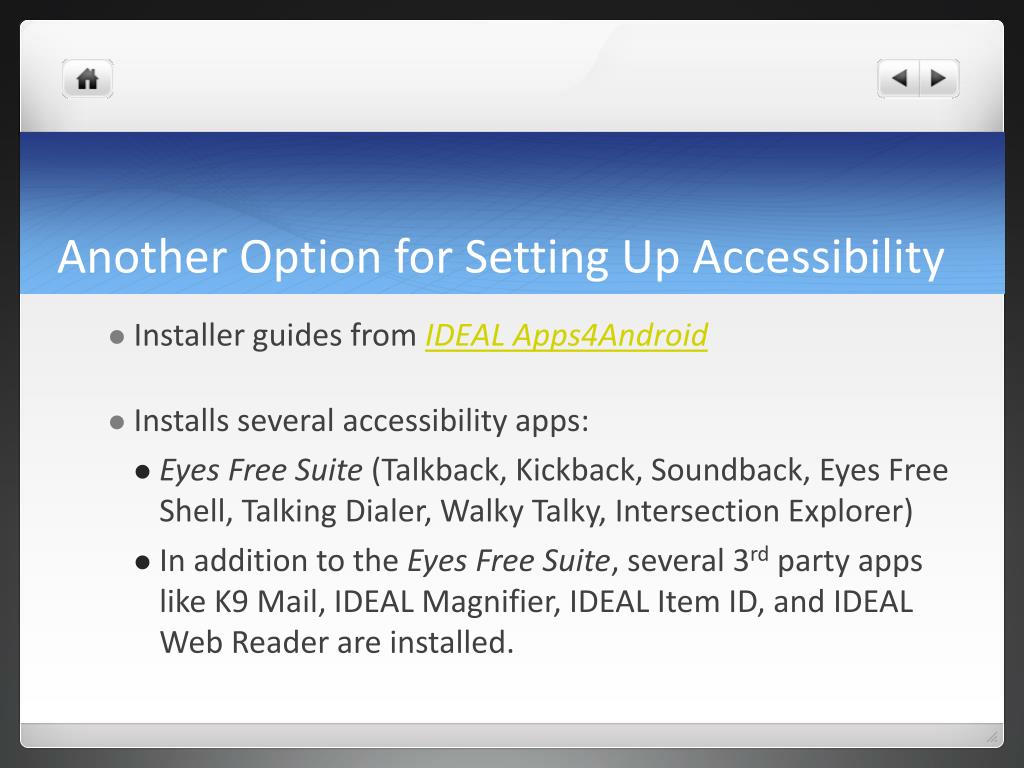 Another Option for Setting Up Accessibility