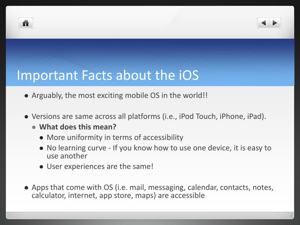 Important Facts about the iOS