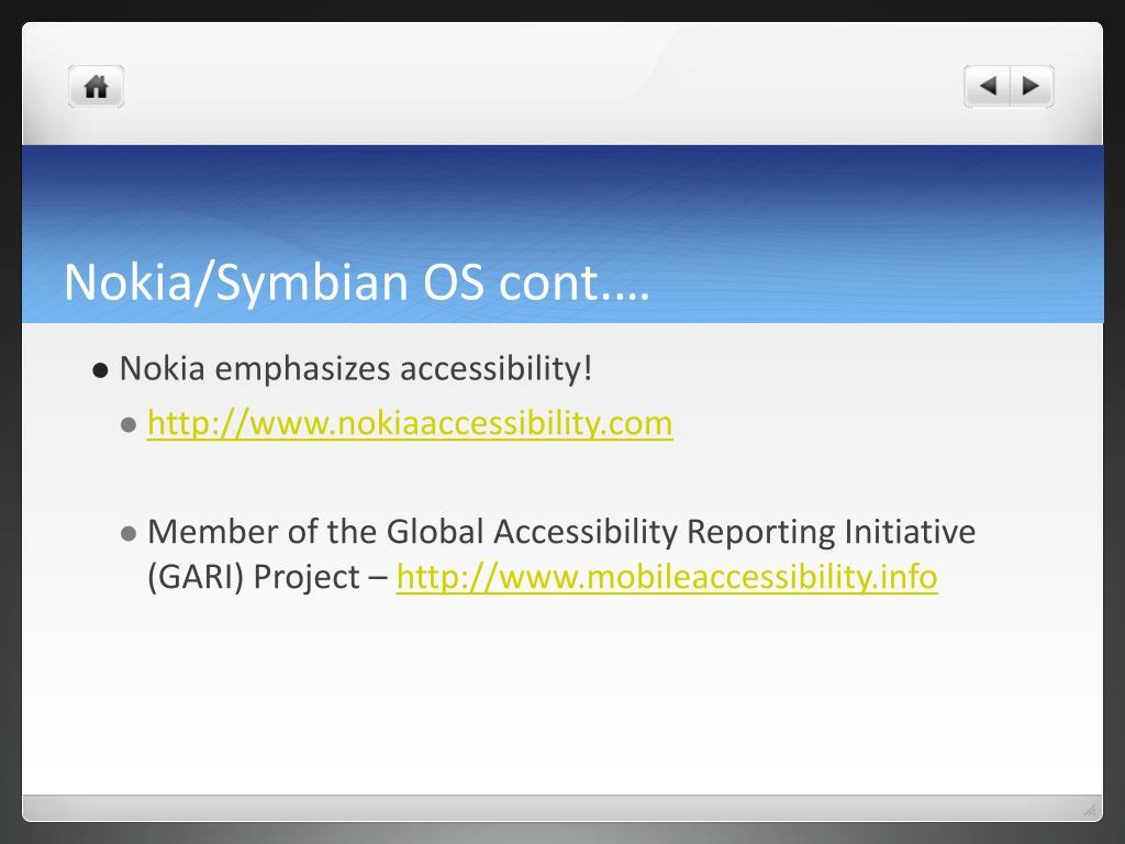 Nokia/Symbian OS cont.…