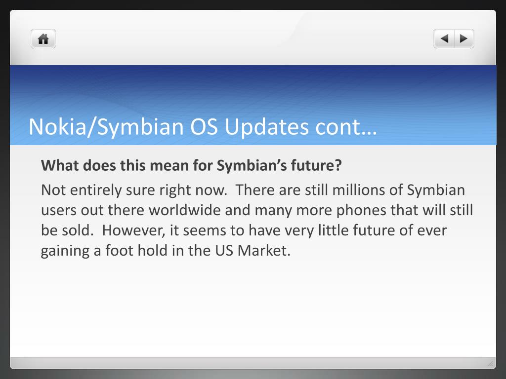 Nokia/Symbian OS Updates cont…