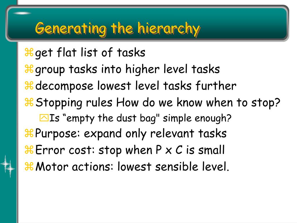 Generating the hierarchy