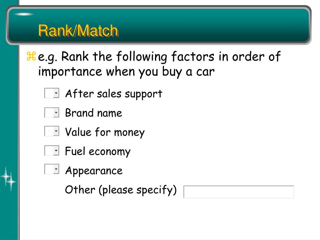 Rank/Match