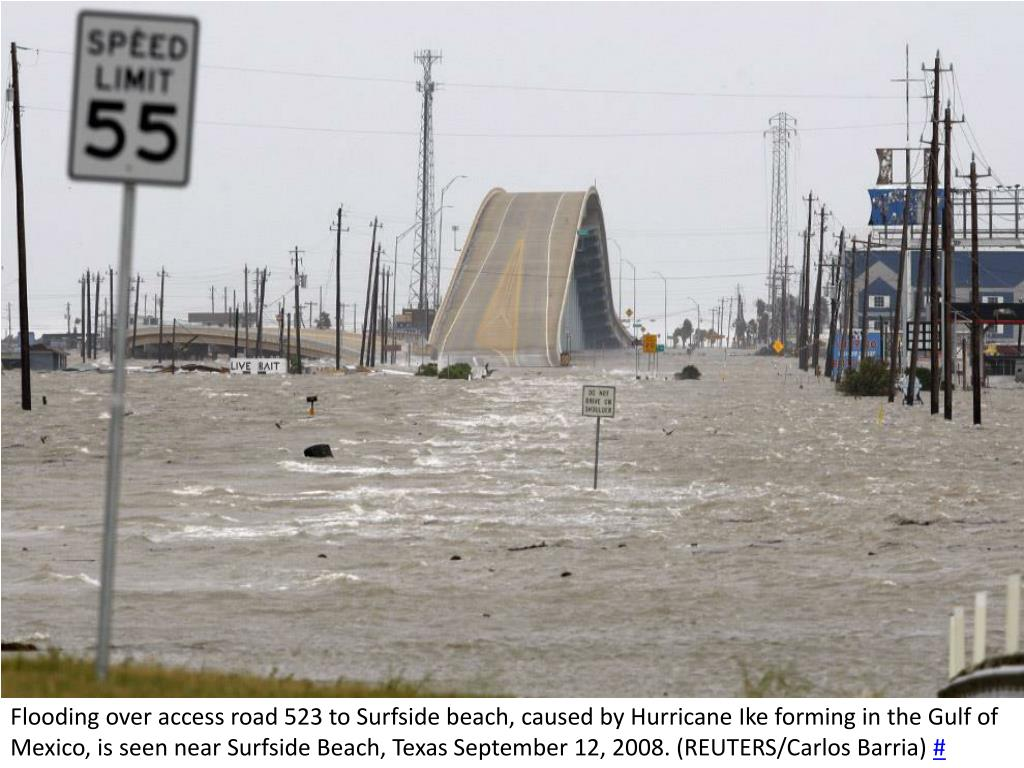 Flooding over access road 523 to Surfside beach, caused by Hurricane Ike forming in the Gulf of Mexico, is seen near Surfside Beach, Texas September 12, 2008. (REUTERS/Carlos Barria)