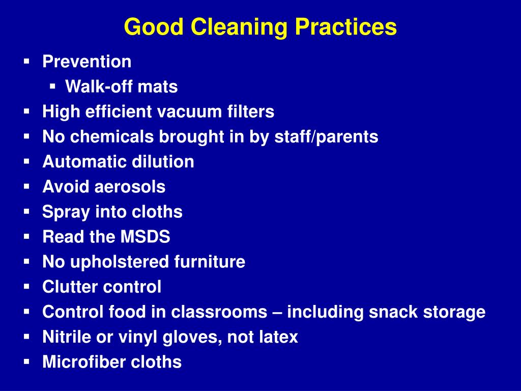 Good Cleaning Practices