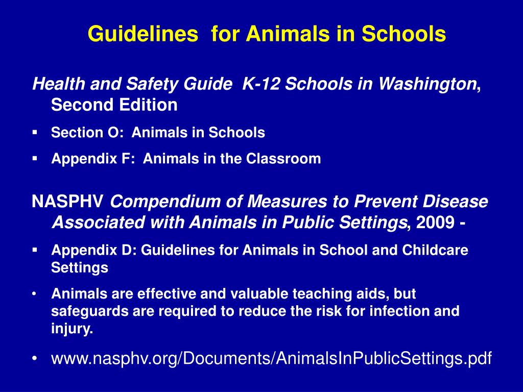 Guidelines  for Animals in Schools