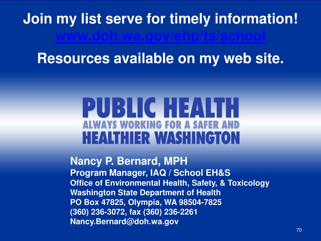 Join my list serve for timely information!