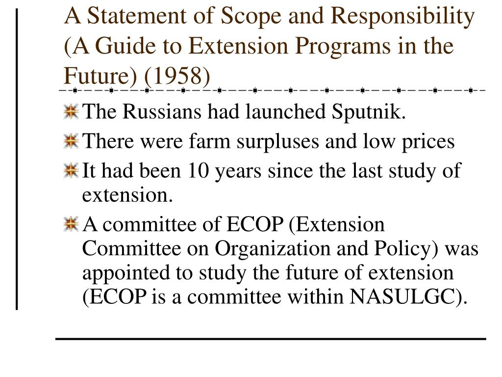 A Statement of Scope and Responsibility (A Guide to Extension Programs in the Future) (1958)