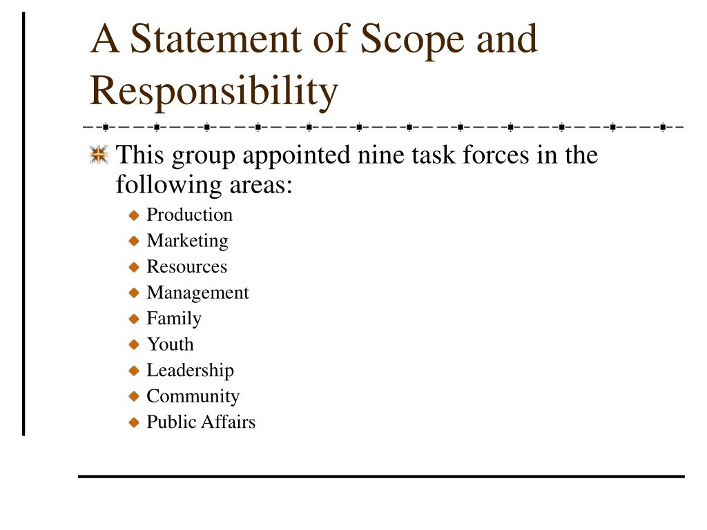 A Statement of Scope and Responsibility