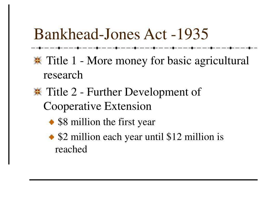 Bankhead-Jones Act -1935