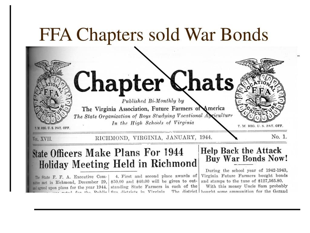 FFA Chapters sold War Bonds