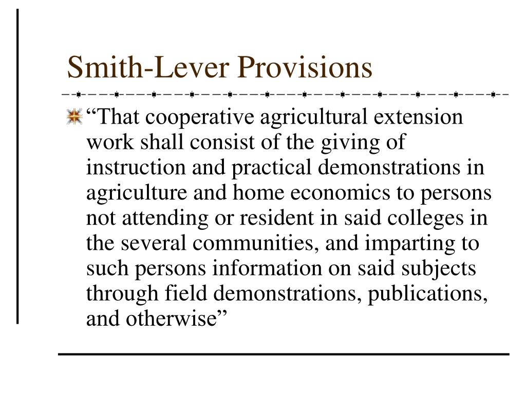 Smith-Lever Provisions