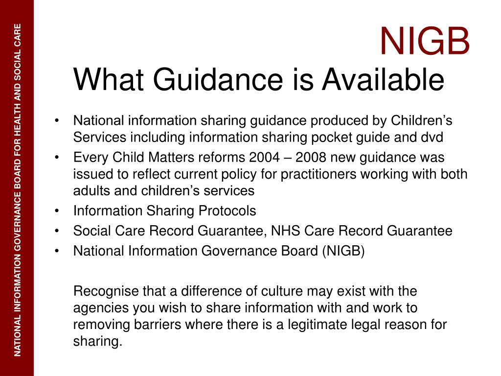 National information sharing guidance produced by Children's Services including information sharing pocket guide and dvd