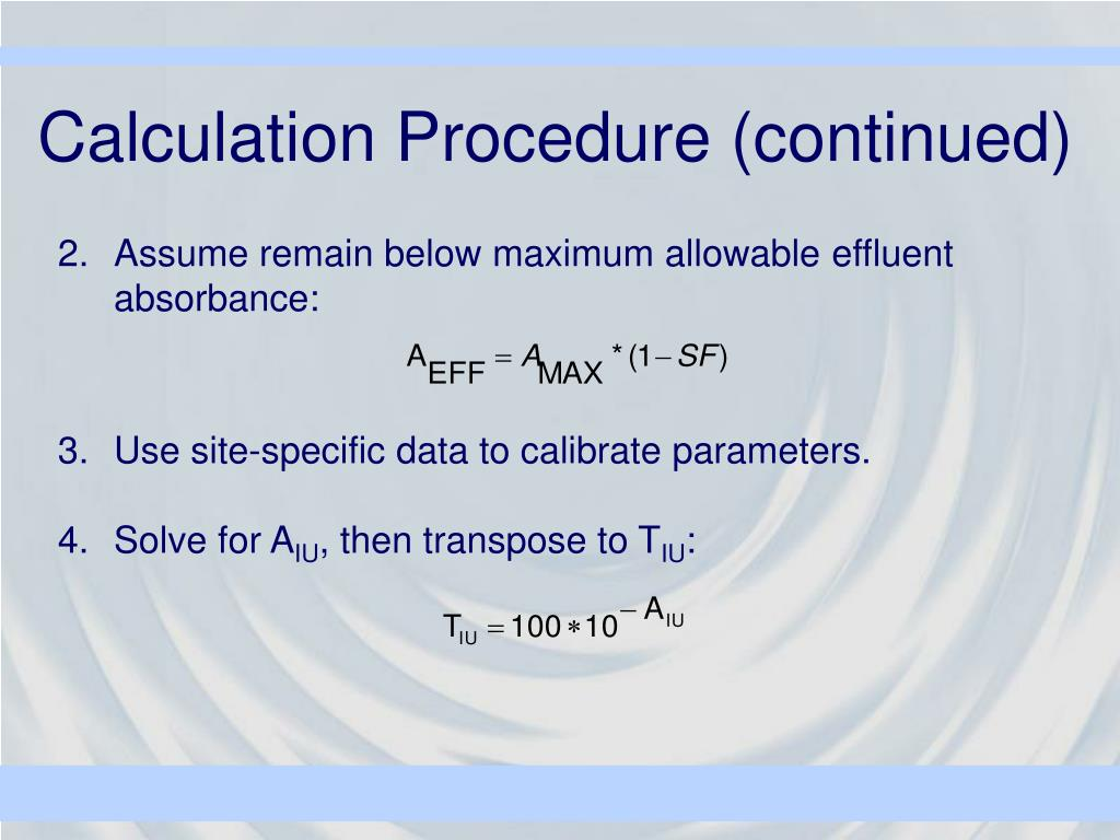 Calculation Procedure (continued)