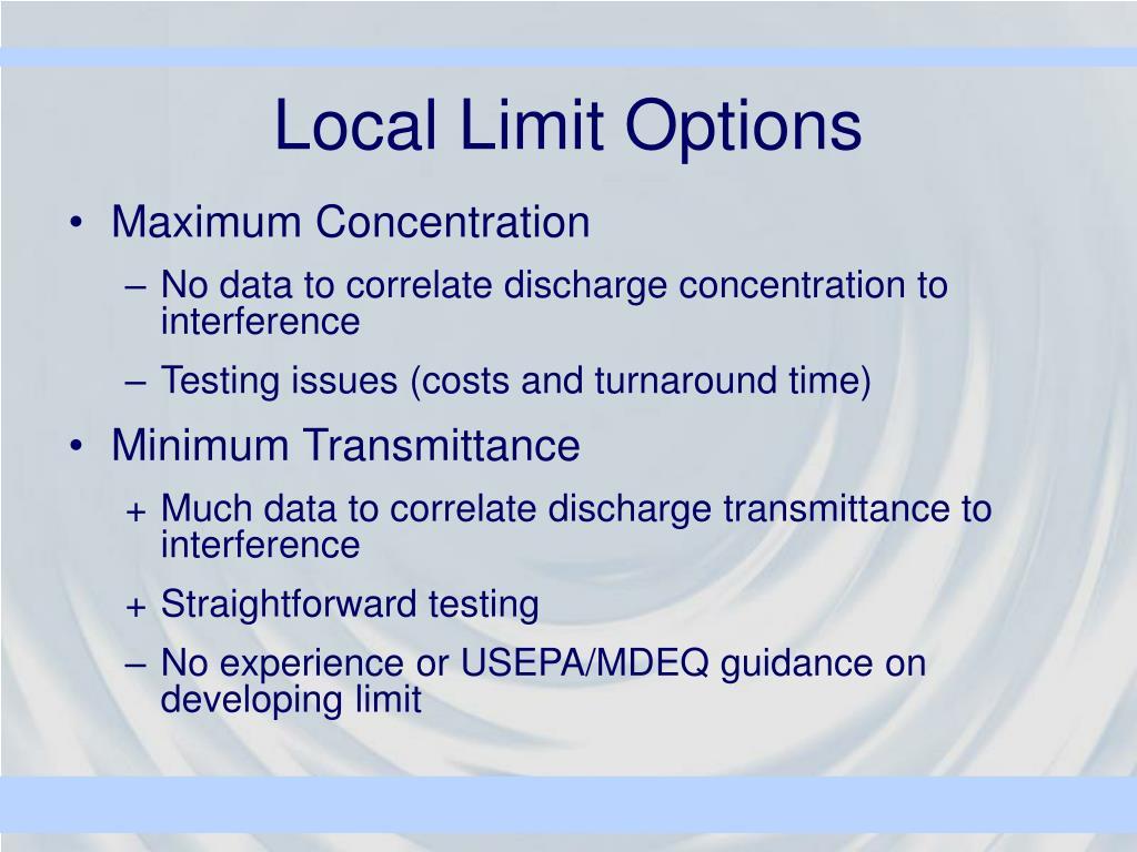 Local Limit Options