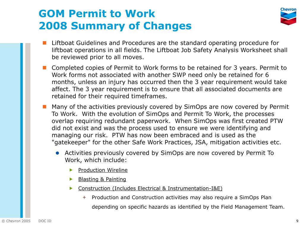 GOM Permit to Work