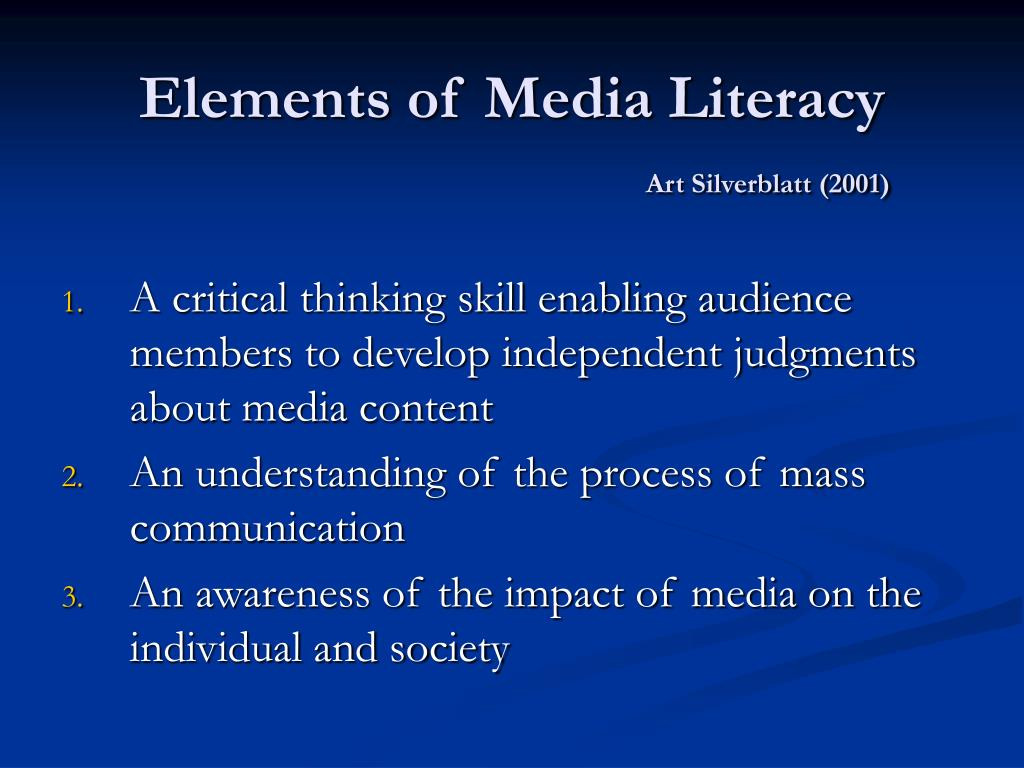 Elements of Media Literacy
