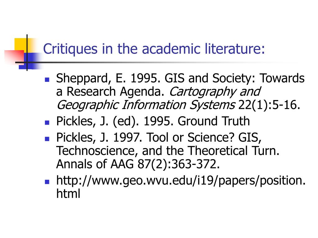 Critiques in the academic literature:
