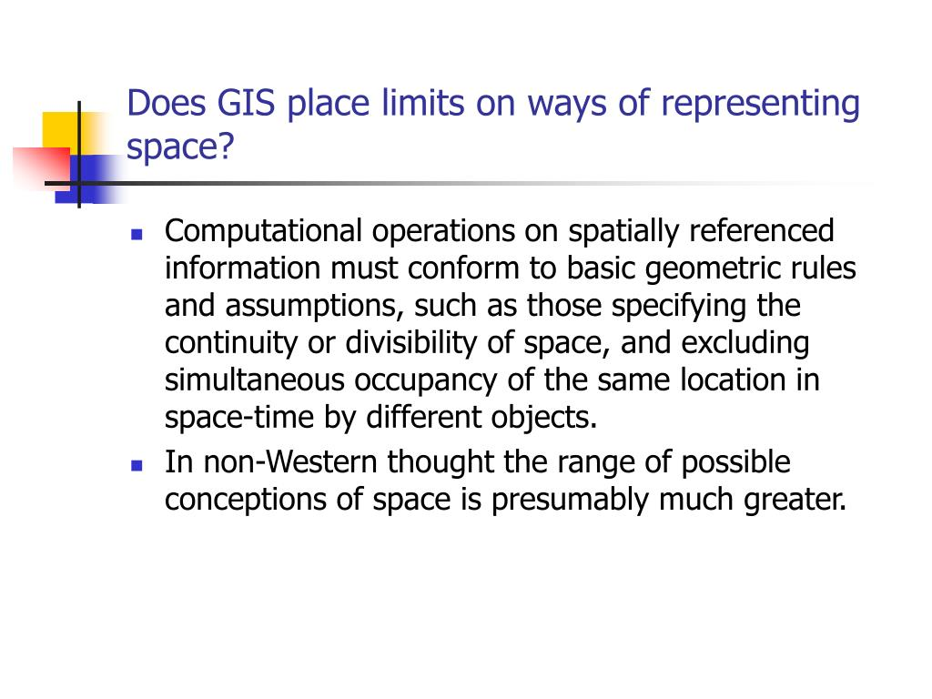 Does GIS place limits on ways of representing space?