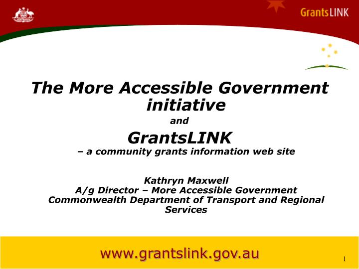 The More Accessible Government initiative