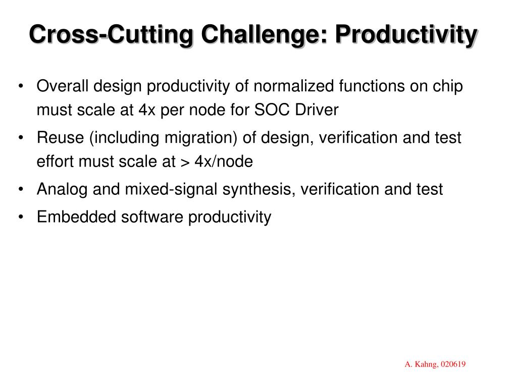 Cross-Cutting Challenge: Productivity