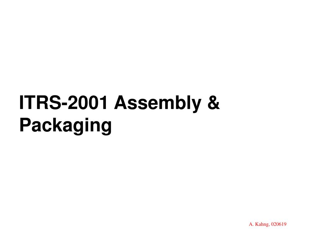 ITRS-2001 Assembly & Packaging