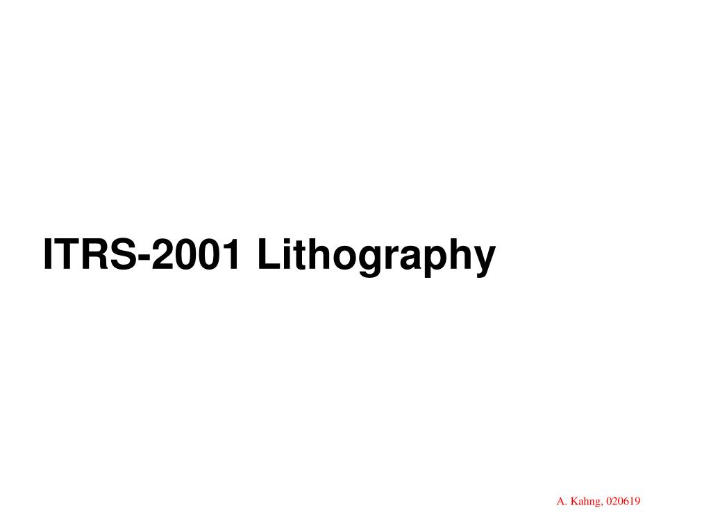 ITRS-2001 Lithography