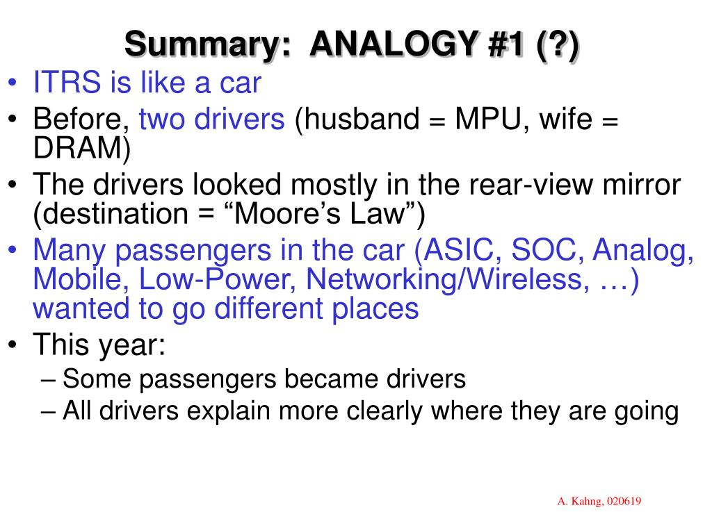 Summary:  ANALOGY #1 (?)