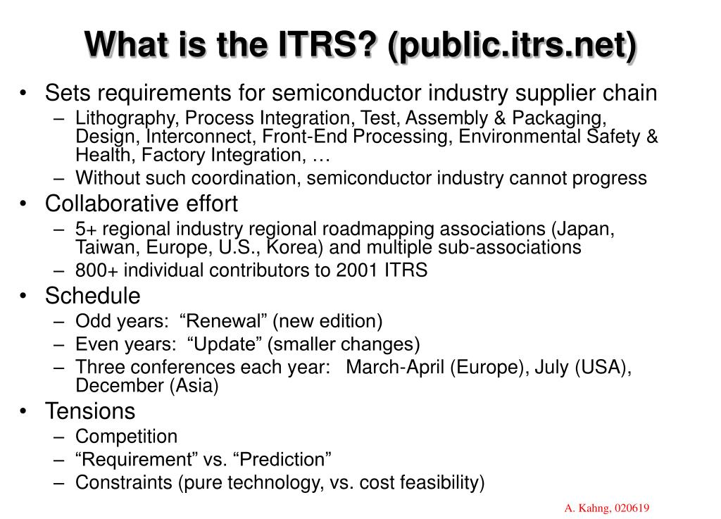 What is the ITRS? (public.itrs.net)
