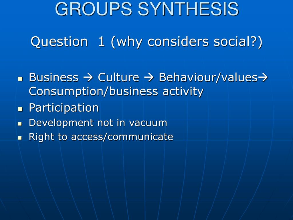 GROUPS SYNTHESIS