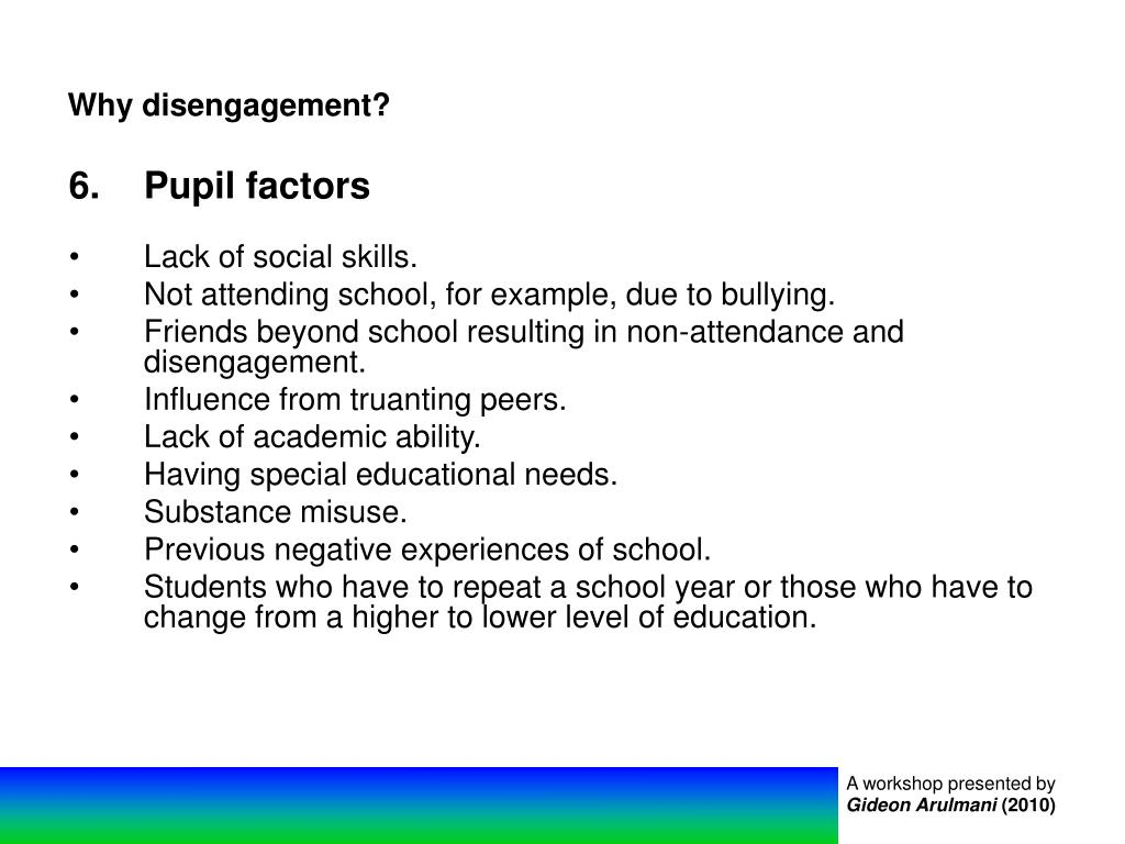 Why disengagement?