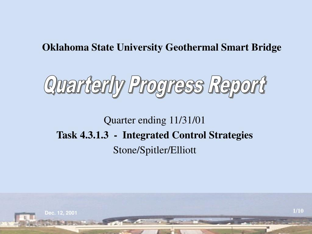 Oklahoma State University Geothermal Smart Bridge
