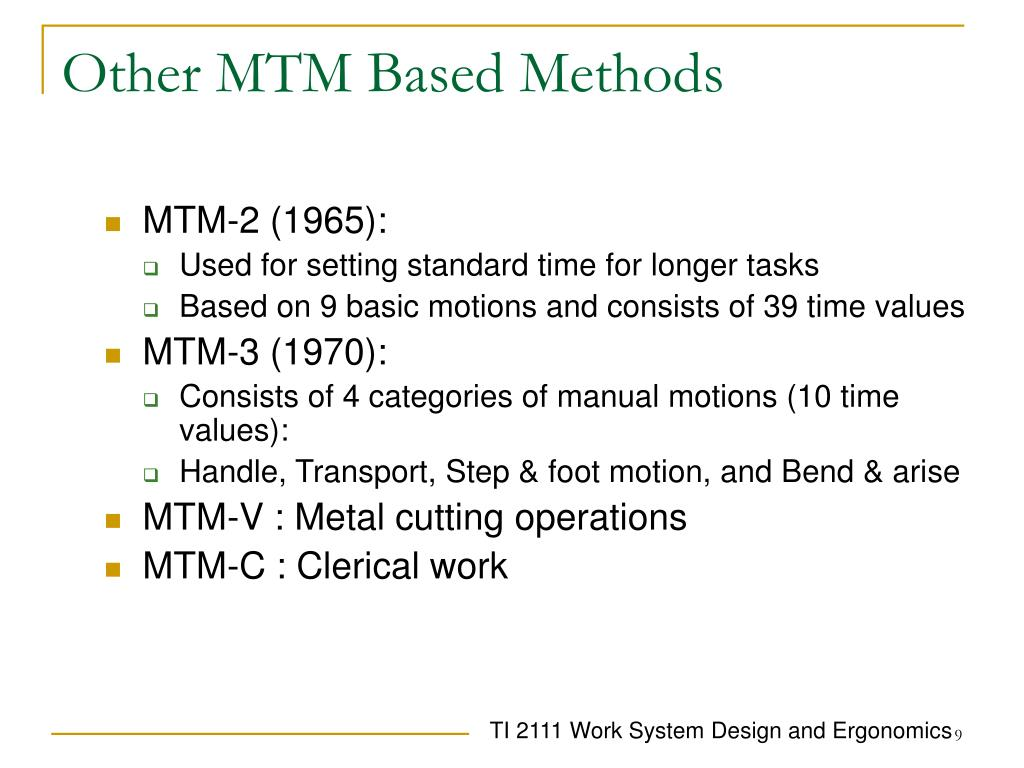 Other MTM Based Methods