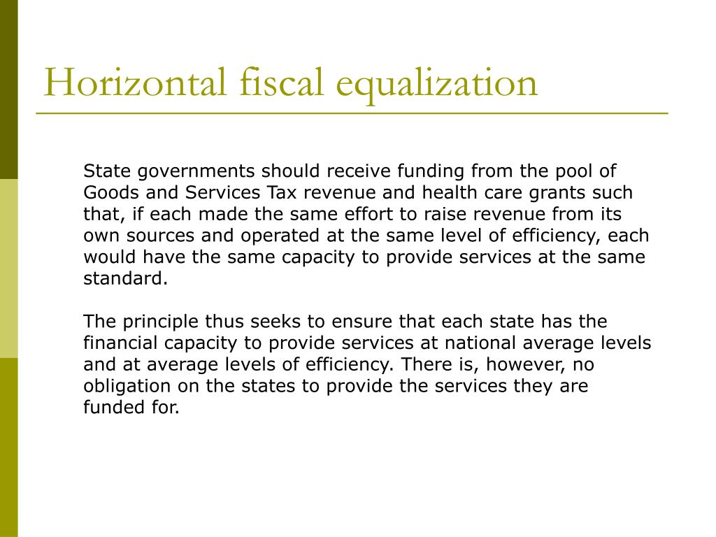 Horizontal fiscal equalization