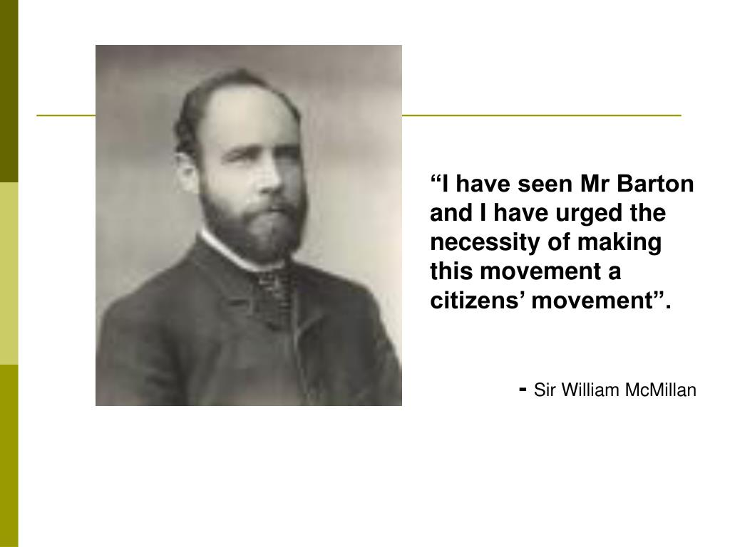 """I have seen Mr Barton and I have urged the necessity of making this movement a citizens' movement""."