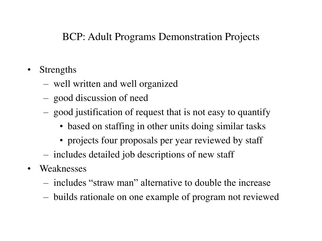 BCP: Adult Programs Demonstration Projects