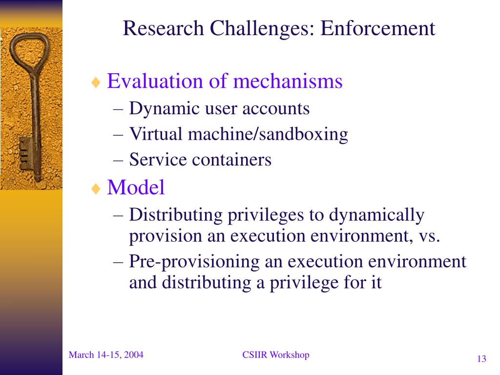 Research Challenges: Enforcement