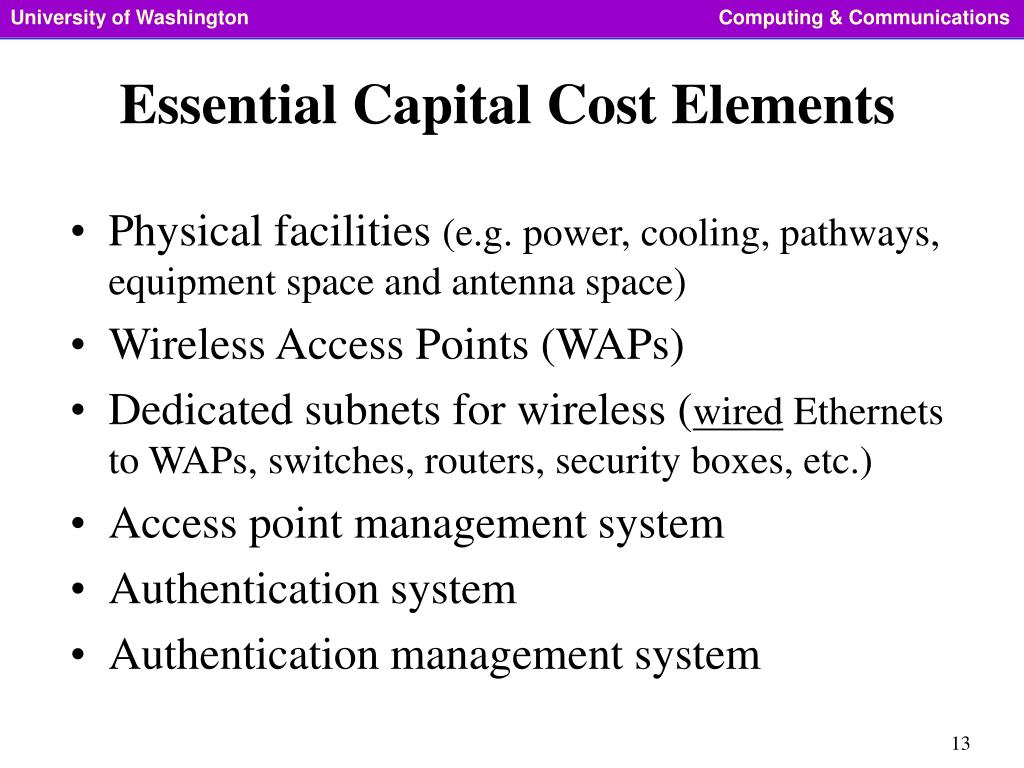 Essential Capital Cost Elements