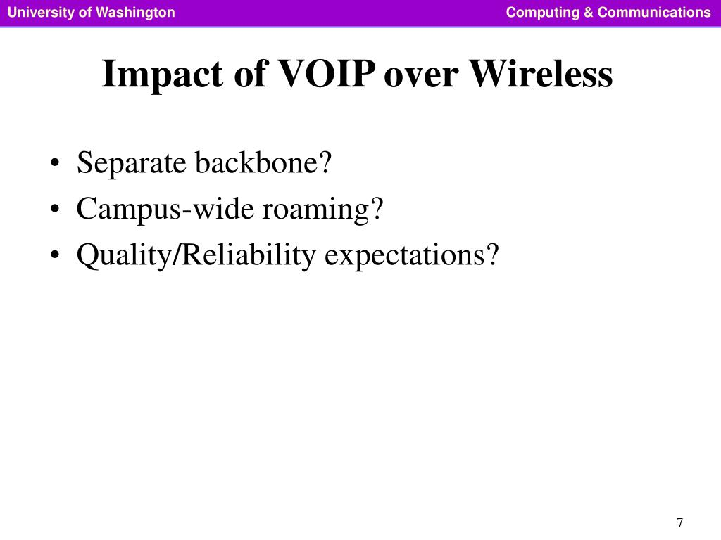 Impact of VOIP over Wireless