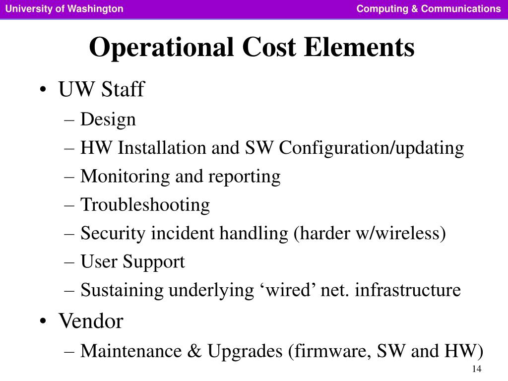 Operational Cost Elements