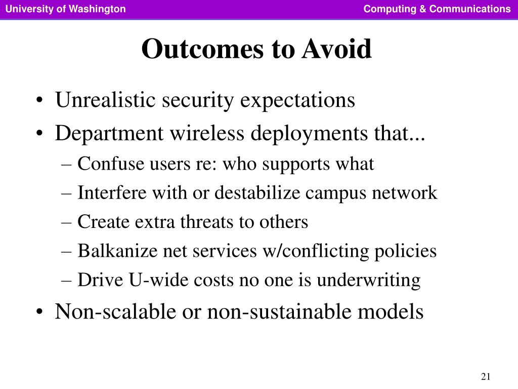 Outcomes to Avoid