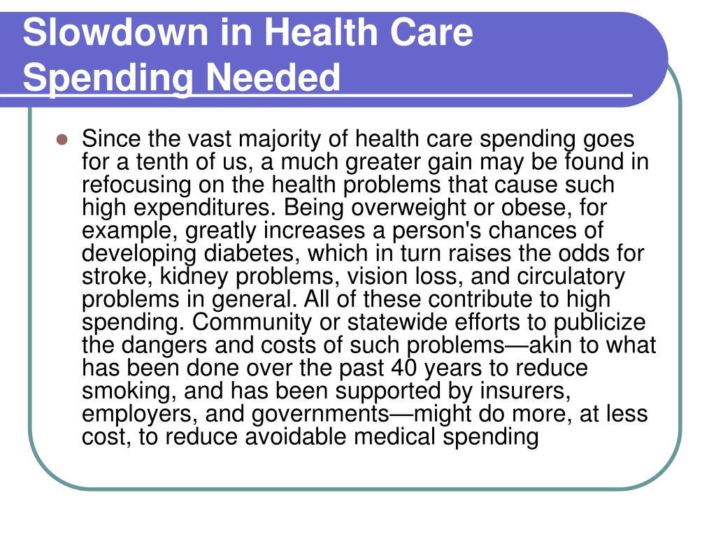 Slowdown in Health Care Spending Needed