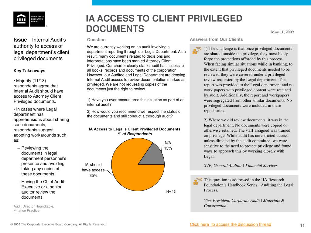 IA ACCESS TO CLIENT PRIVILEGED DOCUMENTS