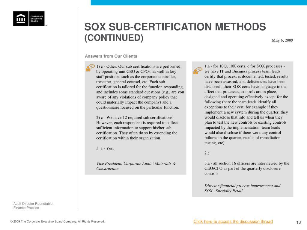 SOX SUB-CERTIFICATION METHODS