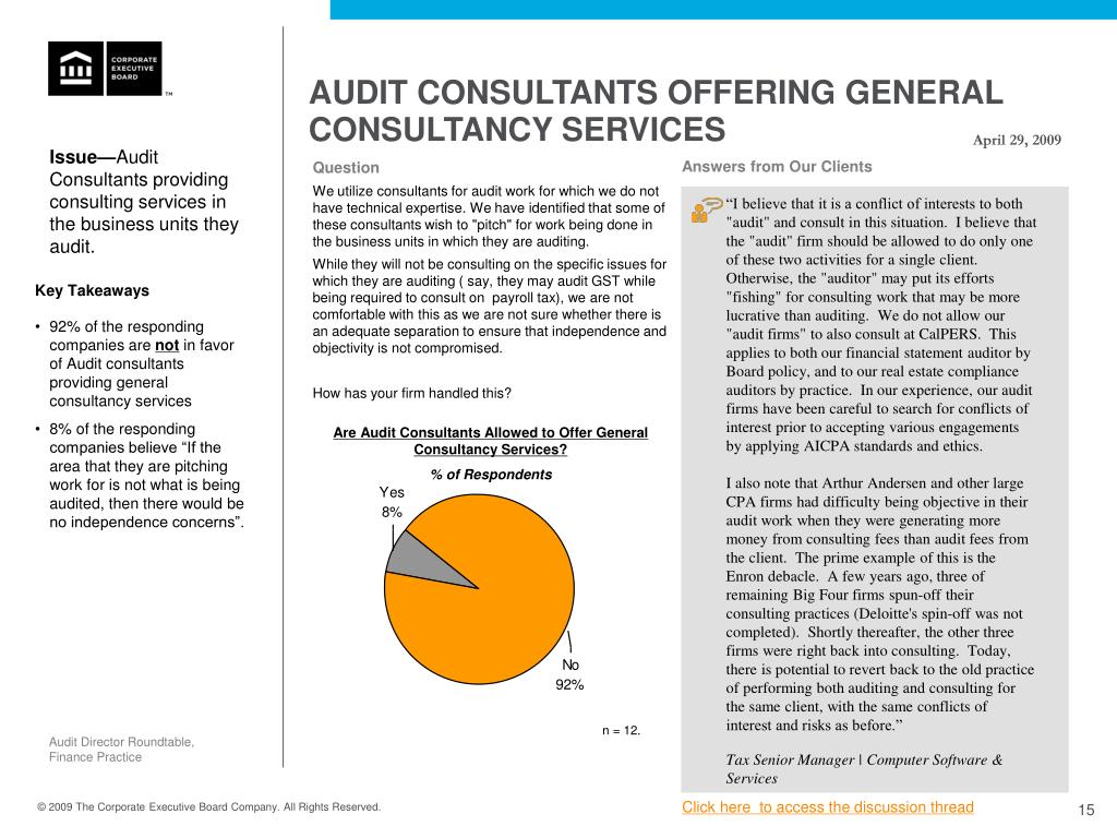 AUDIT CONSULTANTS OFFERING GENERAL CONSULTANCY SERVICES