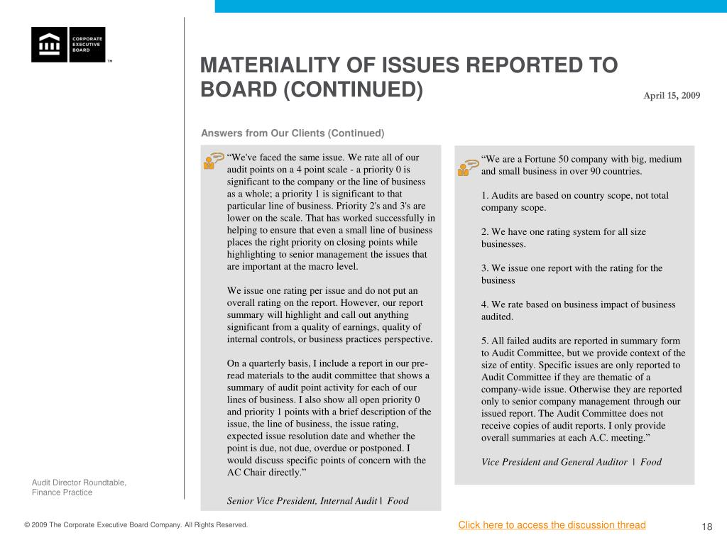Materiality of Issues Reported to Board