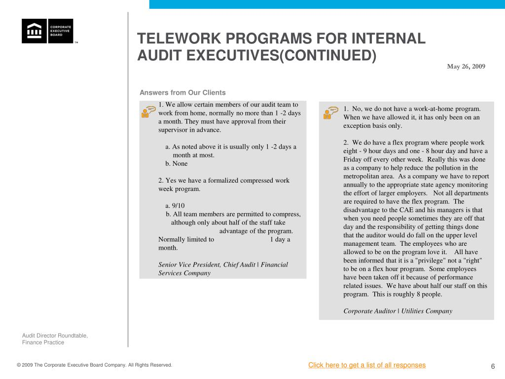 TELEWORK PROGRAMS FOR INTERNAL AUDIT EXECUTIVES(CONTINUED)