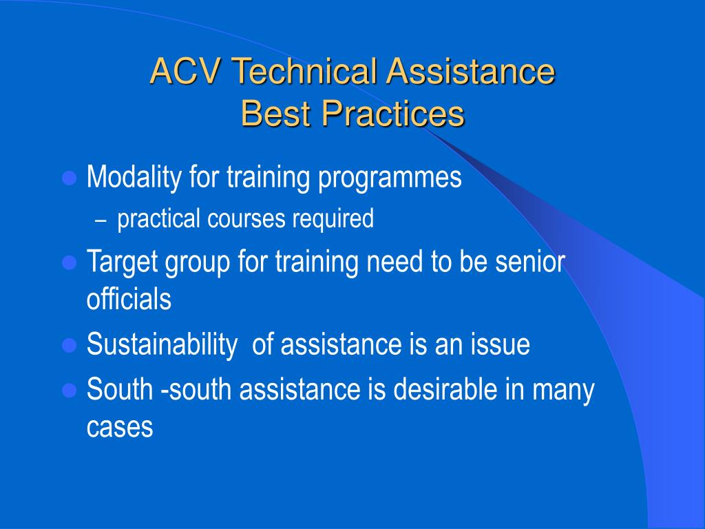 ACV Technical Assistance