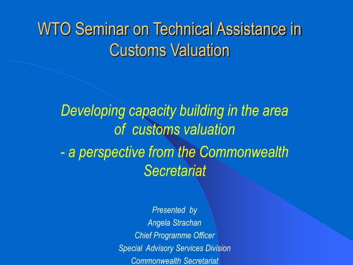 Wto seminar on technical assistance in customs valuation
